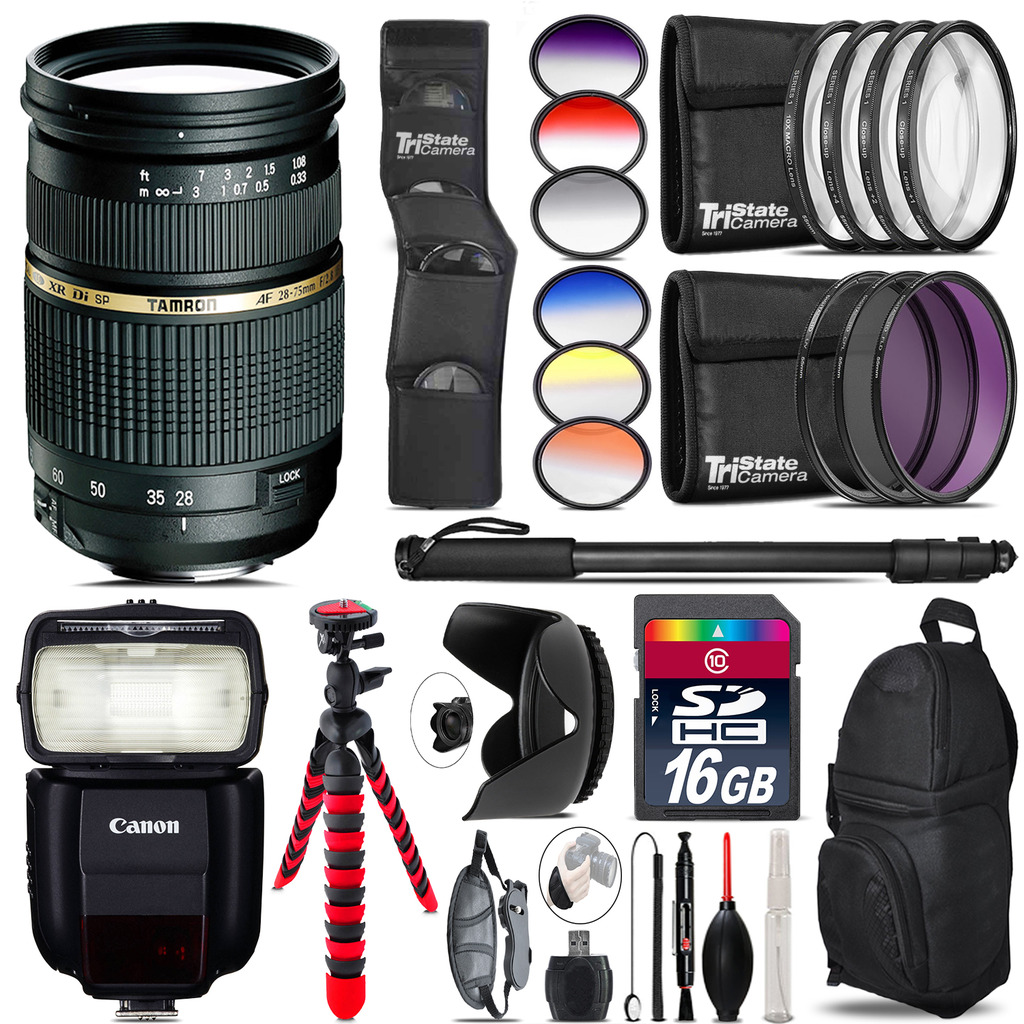 Tamron 28-75mm Lens for Canon + Speedlite 430EX III-RT - 16GB Accessory Kit *FREE SHIPPING*