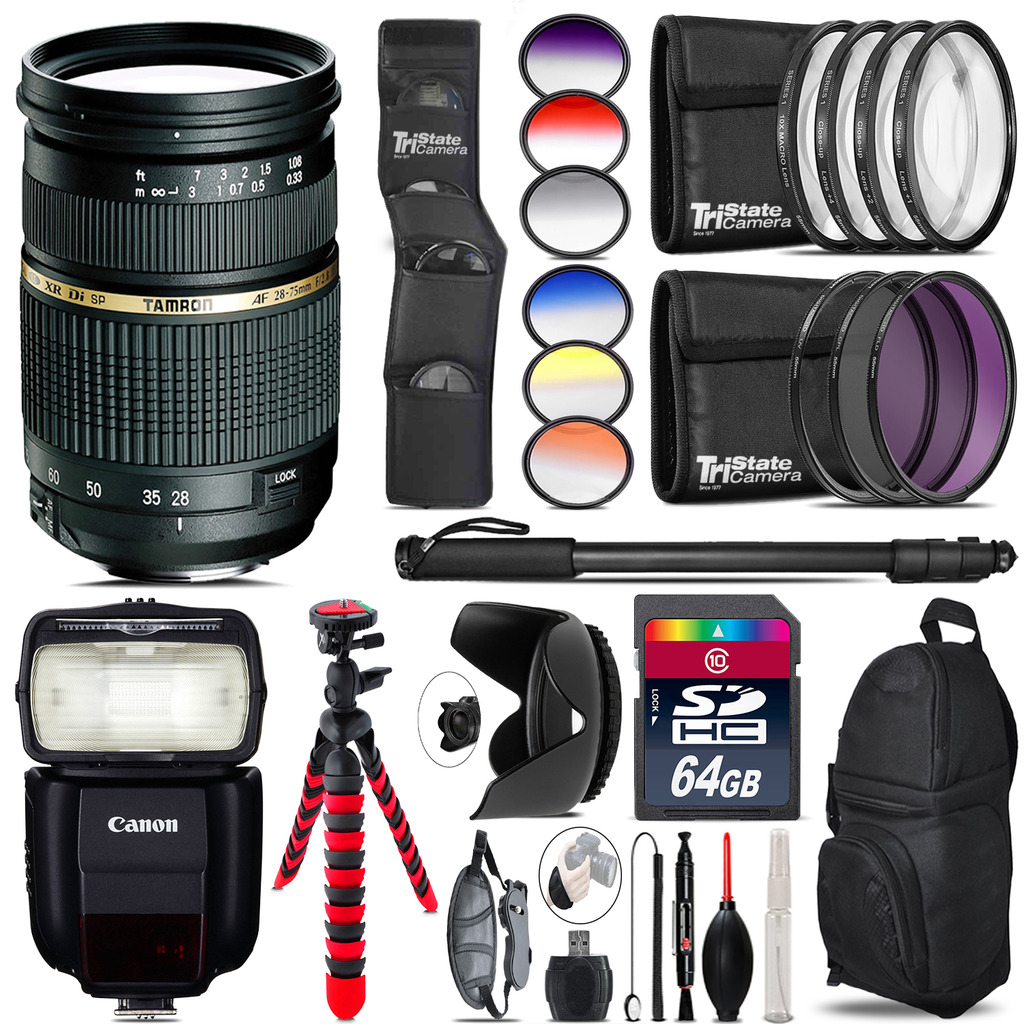Tamron 28-75mm Lens for Canon + Speedlite 430EX III-RT  - 64GB Accessory Kit *FREE SHIPPING*