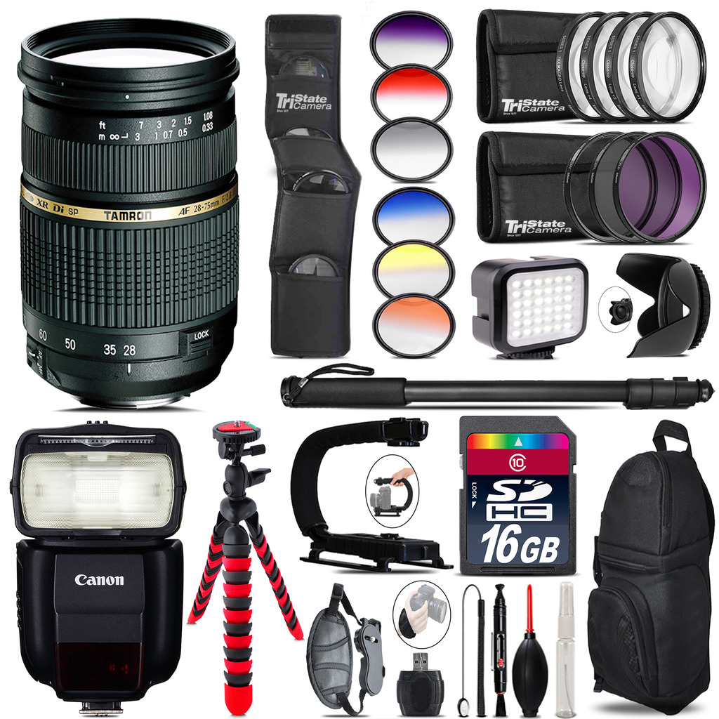 Tamron 28-75mm Lens for Canon + Speedlite 430EX III + LED - 16GB Accessory Kit *FREE SHIPPING*