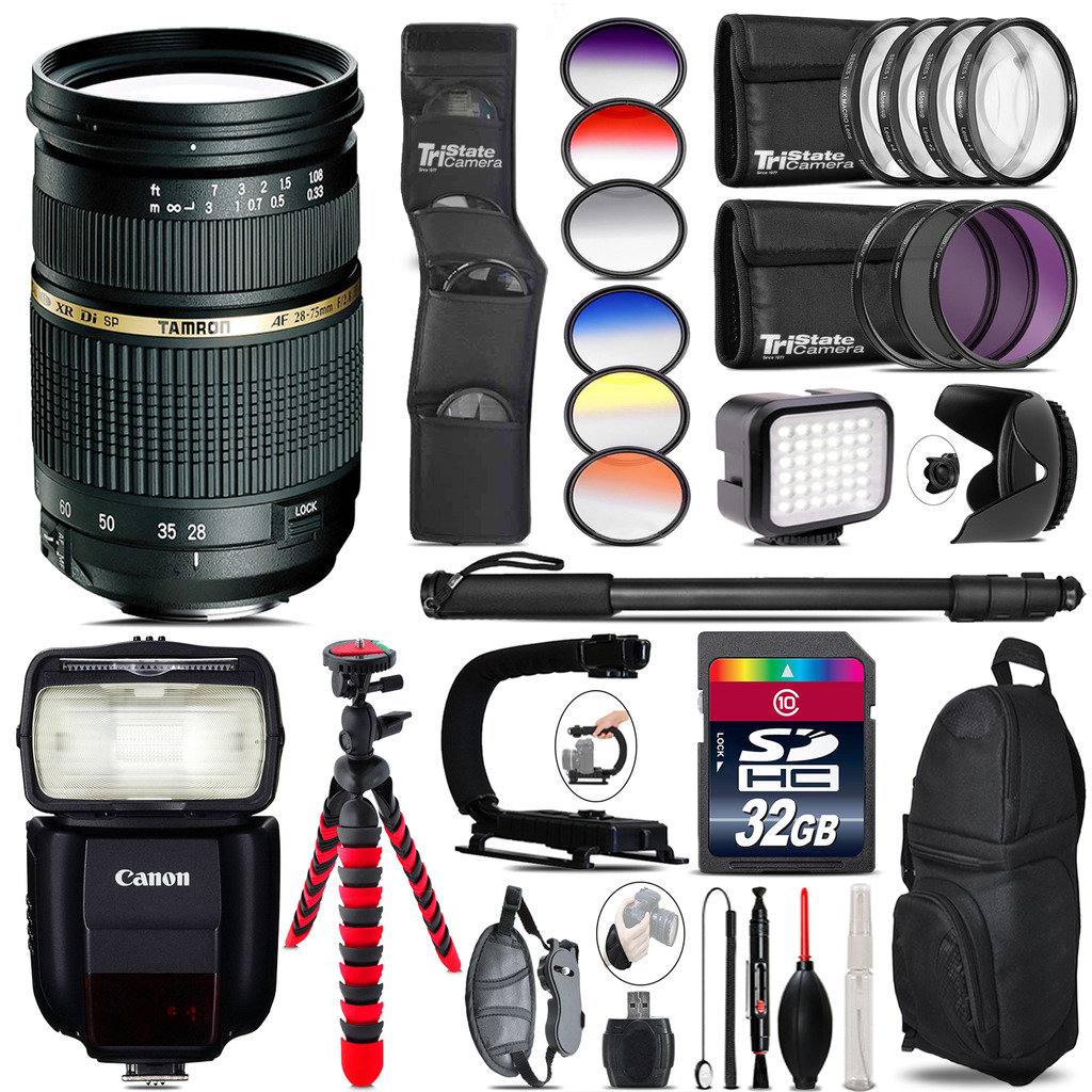 Tamron 28-75mm Lens for Canon + Speedlite 430EX + LED - 32GB Accessory Kit *FREE SHIPPING*