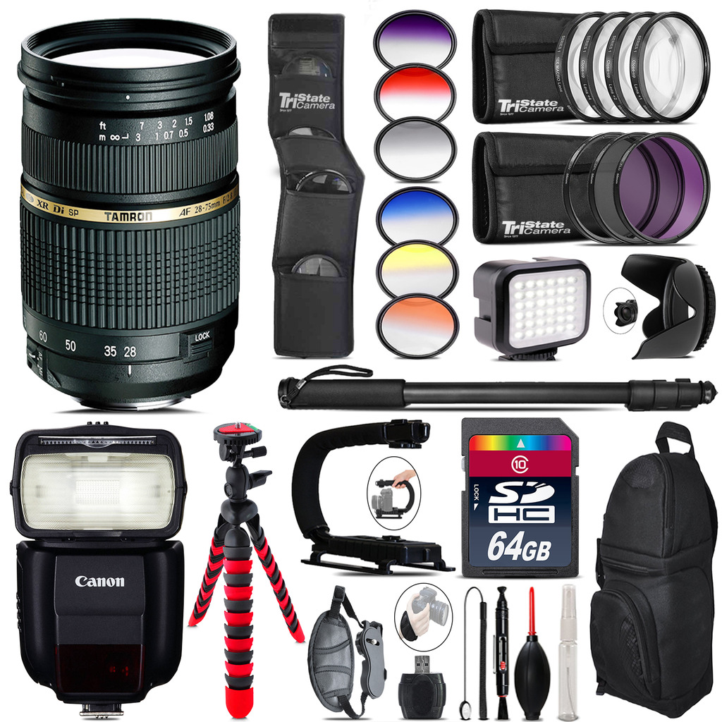 Tamron 28-75mm Lens for Canon + Speedlite 430EX + LED - 64GB Accessory Kit *FREE SHIPPING*