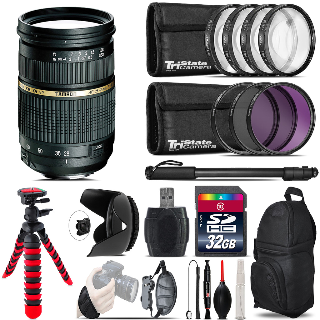 Tamron 28-75mm Lens for Nikon + Macro Filter Kit & More - 32GB Accessory Kit *FREE SHIPPING*