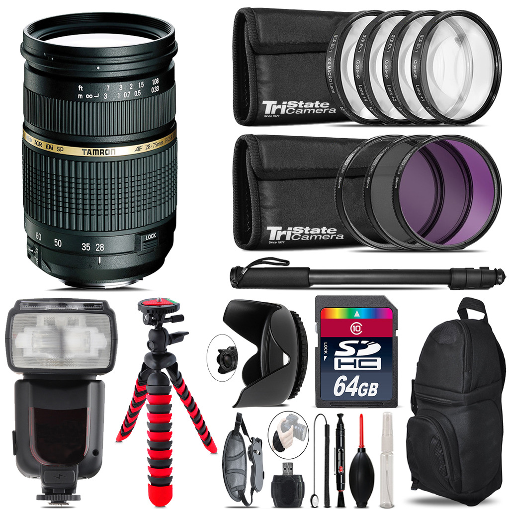 Tamron 28-75mm Lens for Nikon + Professional Flash & More - 64GB Accessory Kit *FREE SHIPPING*
