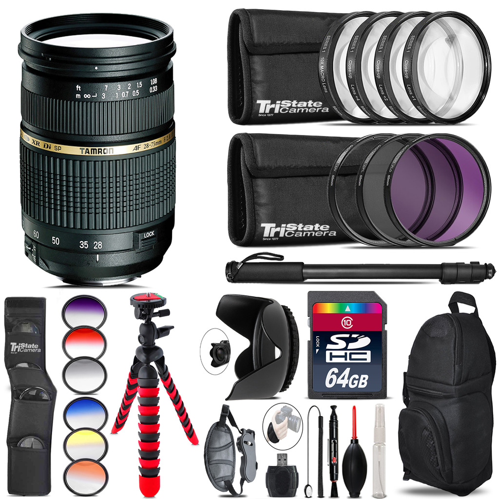 Tamron 28-75mm Lens for Nikon + Graduated Color Filter - 64GB Accessory Kit *FREE SHIPPING*