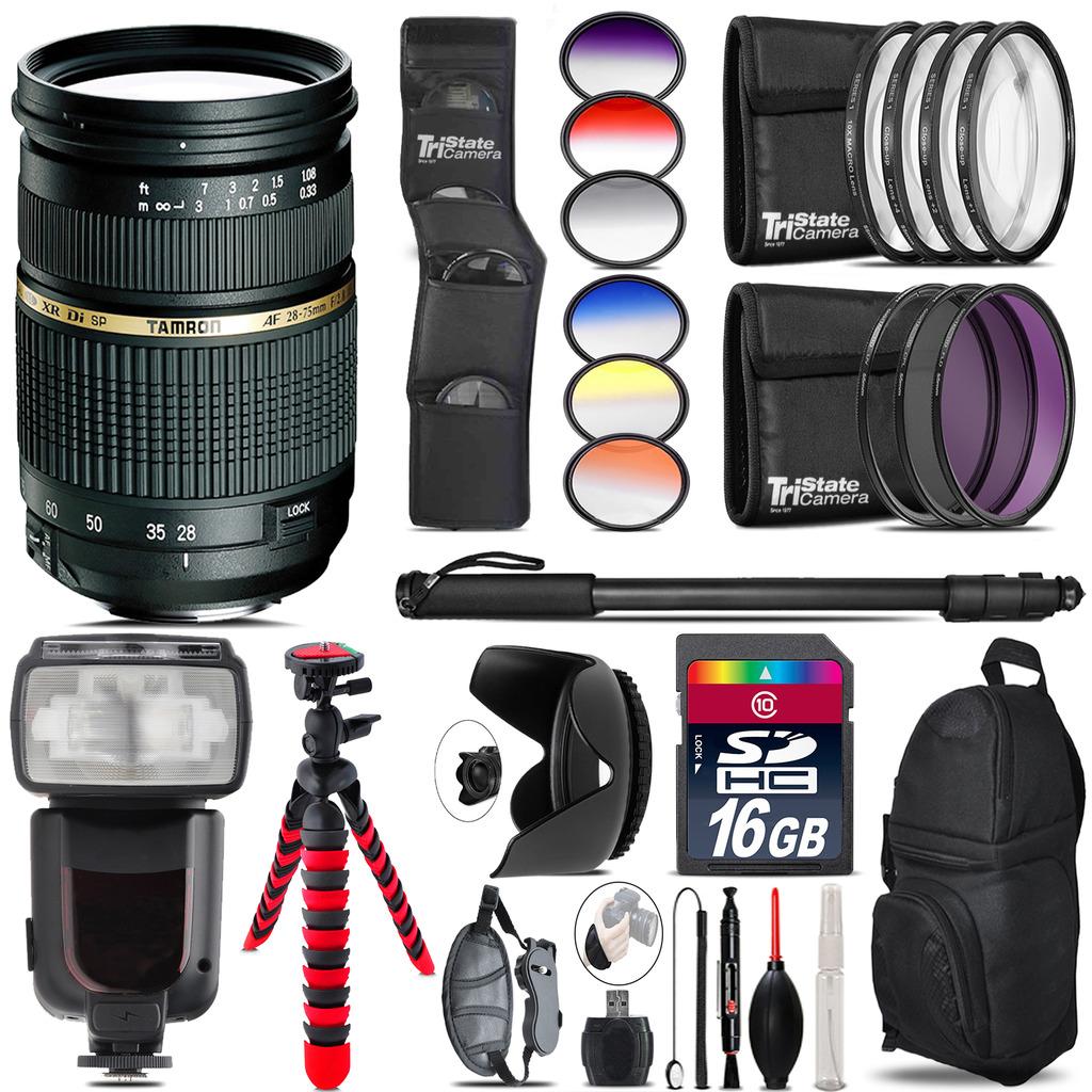Tamron 28-75mm Lens for Nikon + Pro Flash + Filter Kit - 16GB Accessory Kit *FREE SHIPPING*