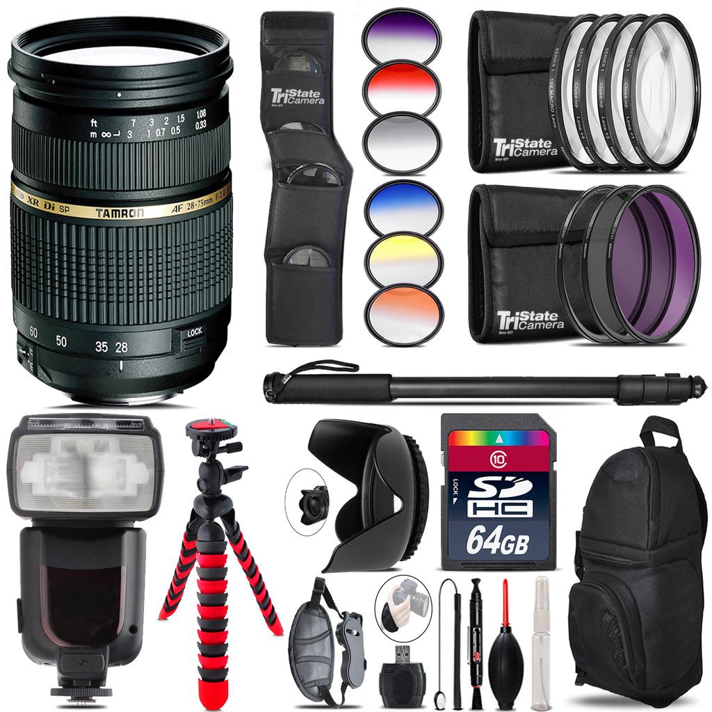 Tamron 28-75mm Lens for Nikon + Pro Flash + Filter Kit - 64GB Accessory Kit *FREE SHIPPING*