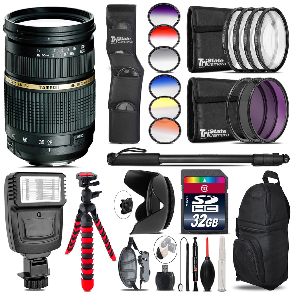 Tamron 28-75mm Lens for Nikon + Flash + Color Filter Set - 32GB Accessory Kit *FREE SHIPPING*