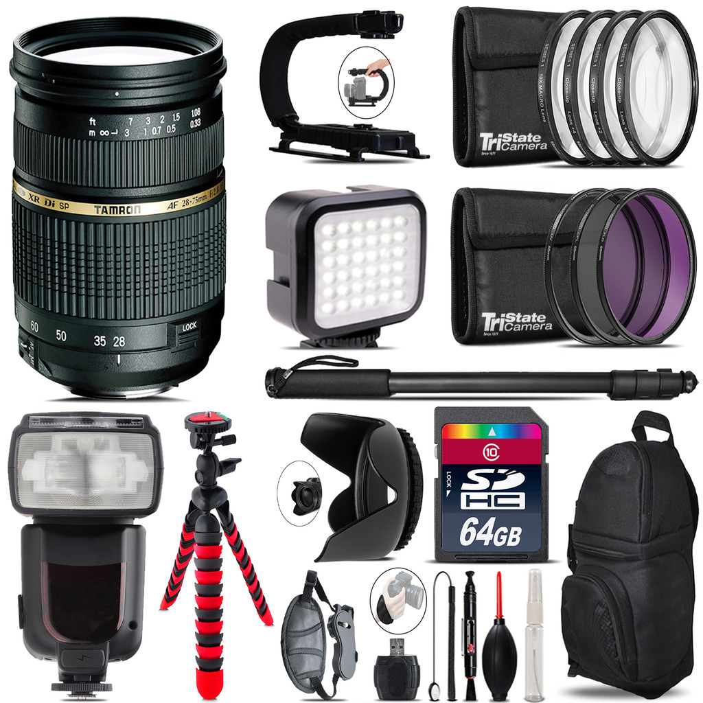 Tamron 28-75mm Lens for Nikon - Video Kit + Pro Flash - 64GB Accessory Bundle *FREE SHIPPING*