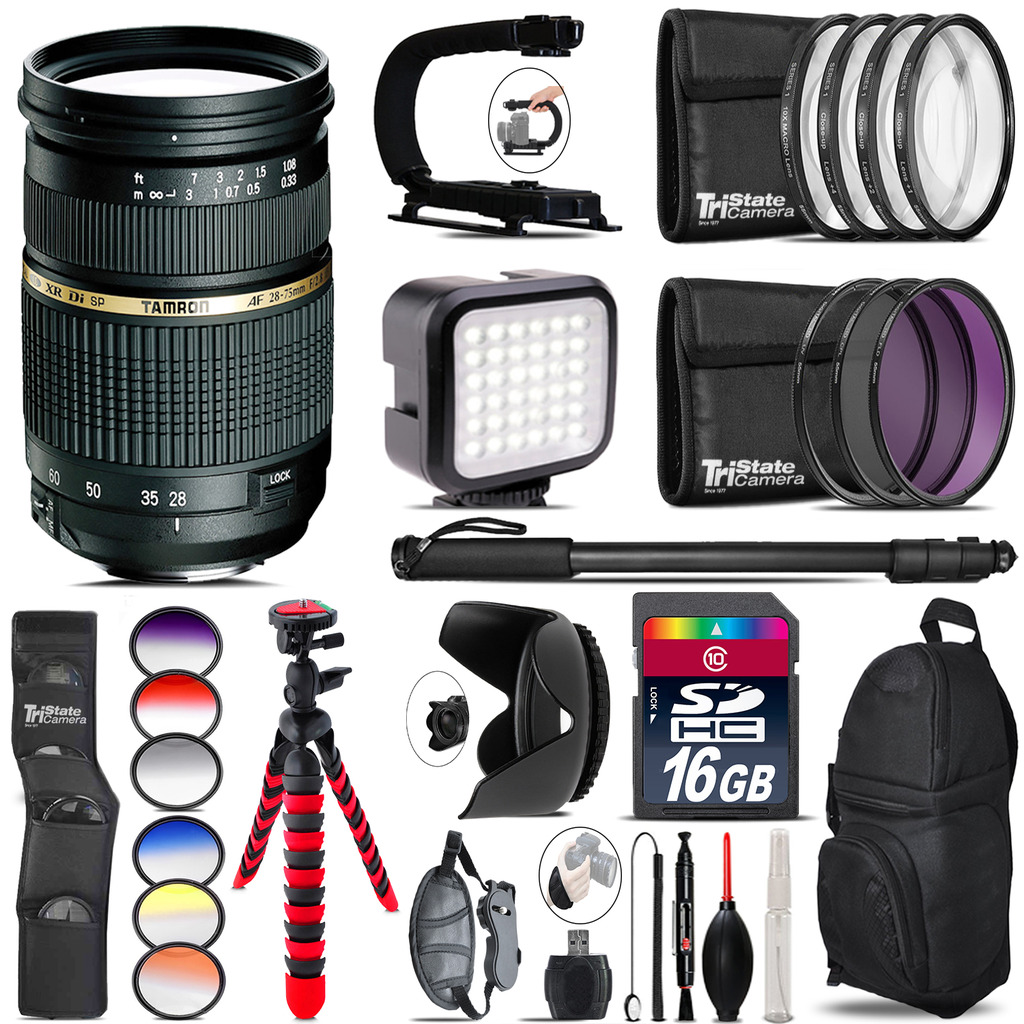 Tamron 28-75mm Lens for Nikon - Video Kit + Color Filter - 16GB Accessory Kit *FREE SHIPPING*