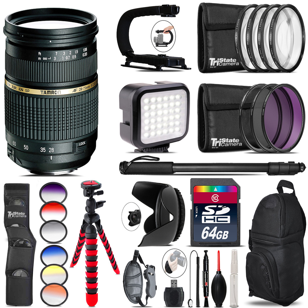Tamron 28-75mm Lens for Nikon - Video Kit + Color Filter - 64GB Accessory Kit *FREE SHIPPING*