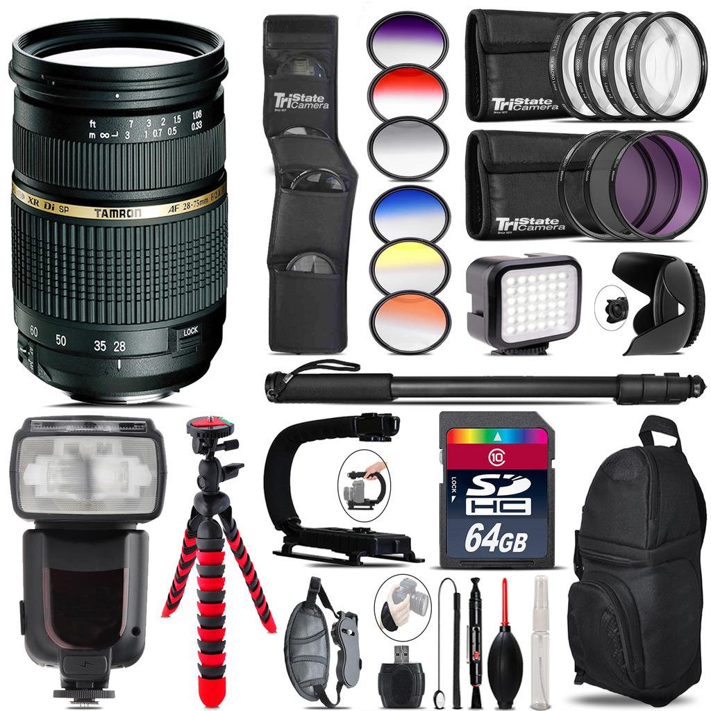 Tamron 28-75mm Lens for Nikon + Pro Flash + LED Light - 64GB Accessory Bundle *FREE SHIPPING*