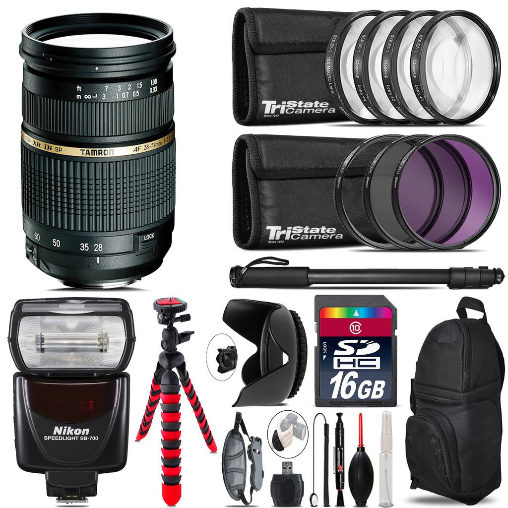 Tamron 28-75mm Lens for Nikon + Nikon SB-700 AF Speedlight  & More - 16GB Kit *FREE SHIPPING*