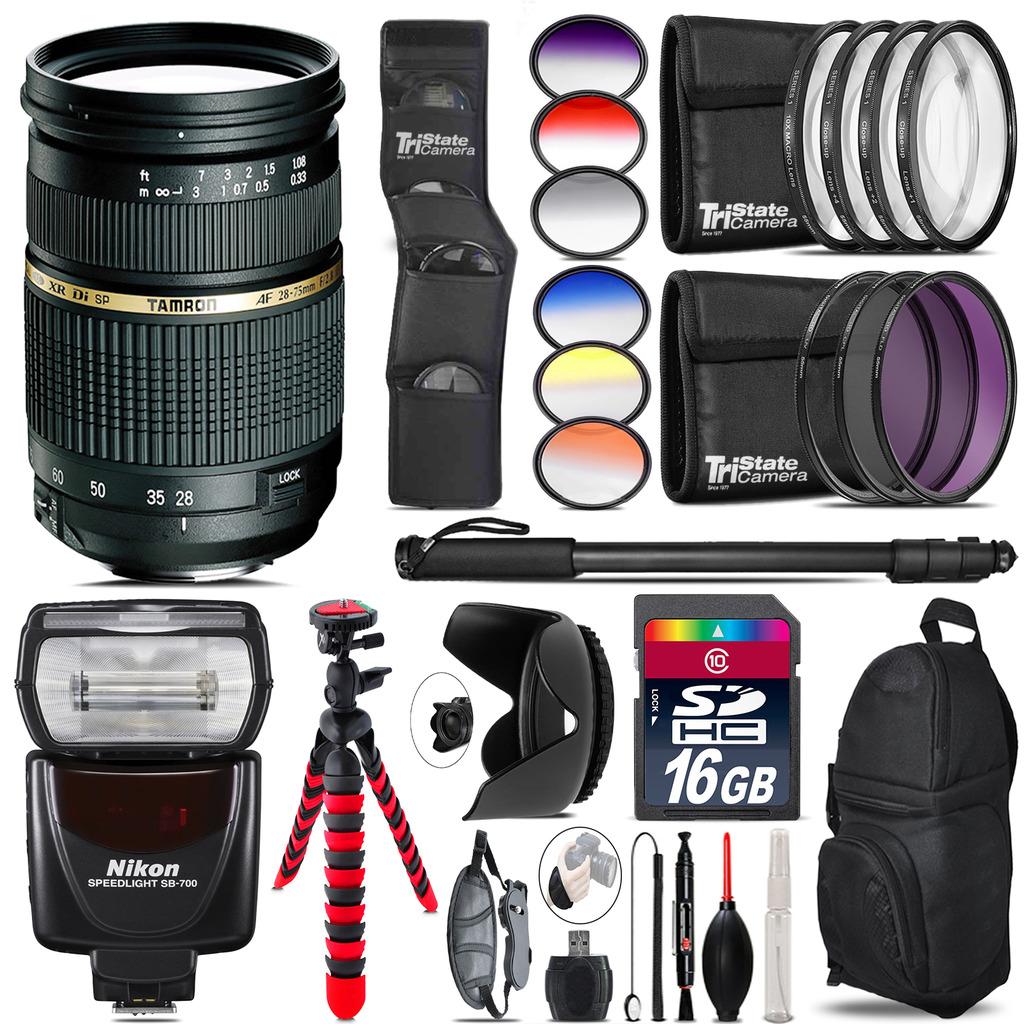 Tamron 28-75mm Lens for Nikon + Nikon SB-700 AF Speedlight - 16GB Accessory Kit *FREE SHIPPING*