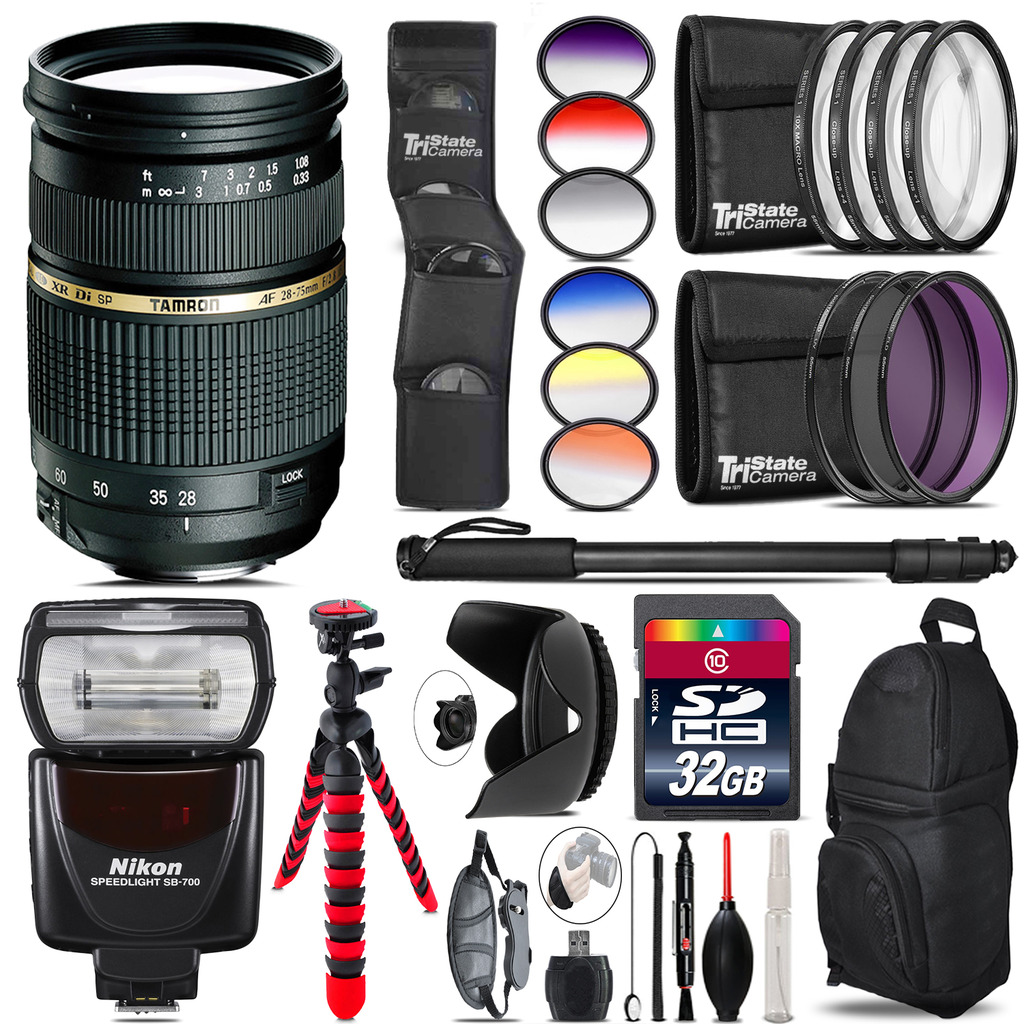 Tamron 28-75mm Lens for Nikon + Nikon SB-700 AF Speedlight - 32GB Accessory Kit *FREE SHIPPING*