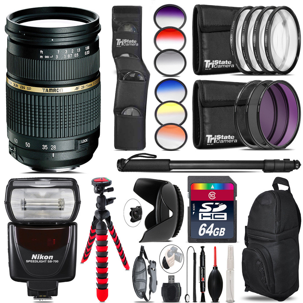 Tamron 28-75mm Lens for Nikon + Nikon SB-700 AF Speedlight  - 64GB Accessory Kit *FREE SHIPPING*
