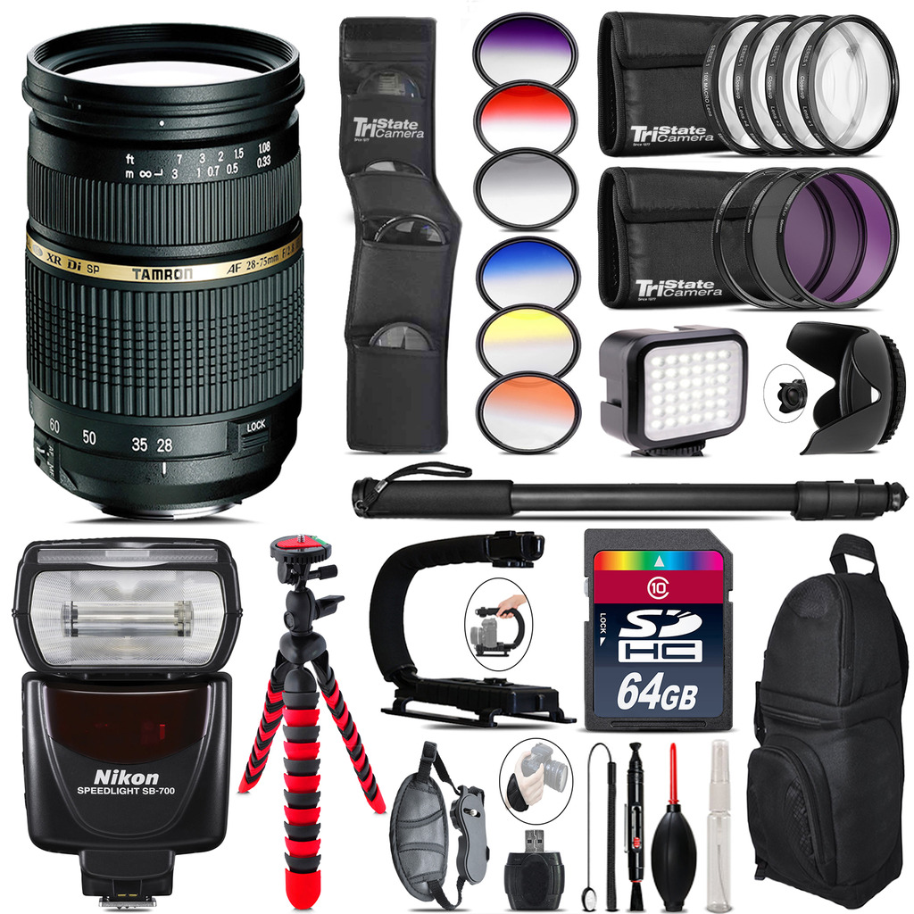 Tamron 28-75mm Lens for Nikon + SB-700 AF Speedlight + LED - 64GB Accessory Kit *FREE SHIPPING*