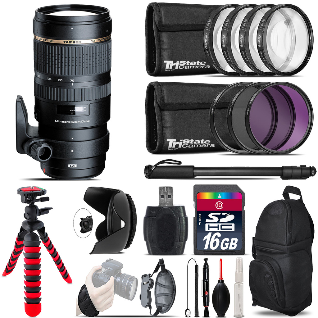 Tamron 70-200mm VC  for Canon + Macro Filter Kit & More - 16GB Accessory Kit *FREE SHIPPING*