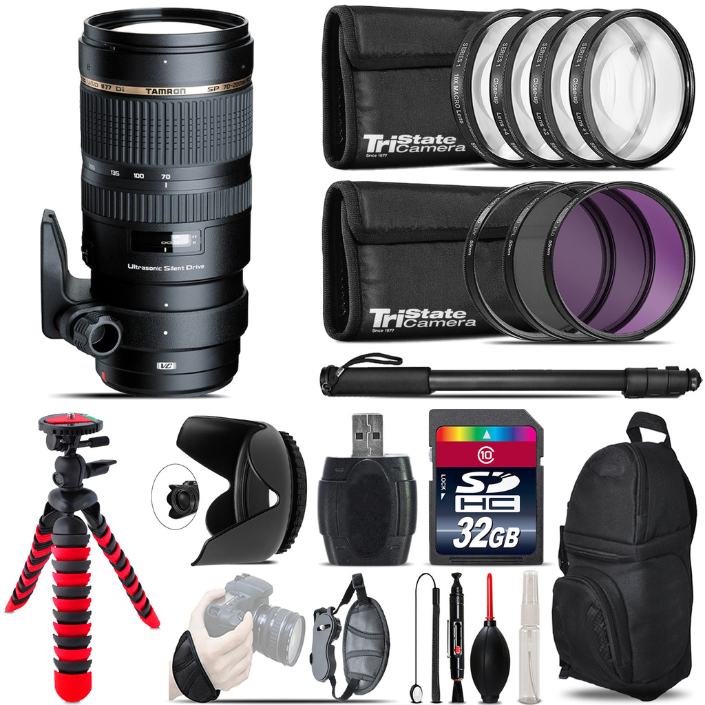 Tamron 70-200mm VC  for Canon + Macro Filter Kit & More - 32GB Accessory Kit *FREE SHIPPING*