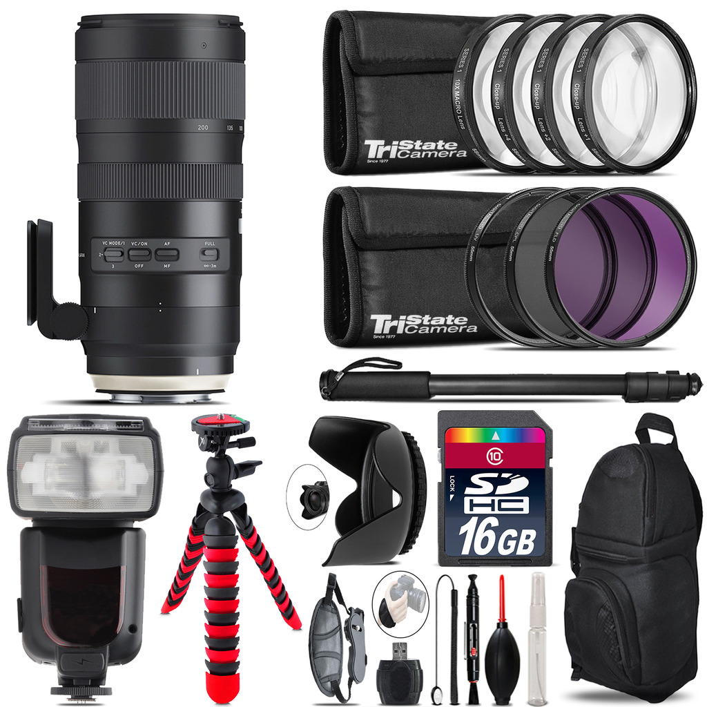 Tamron 70-200mm G2  for Canon + Professional Flash & More - 16GB Accessory Kit *FREE SHIPPING*