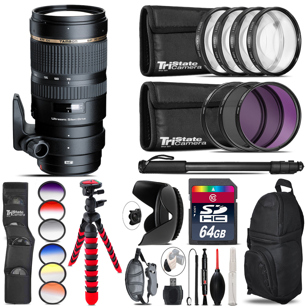 Tamron 70-200mm VC  for Canon + Graduated Color Filter - 64GB Accessory Kit *FREE SHIPPING*