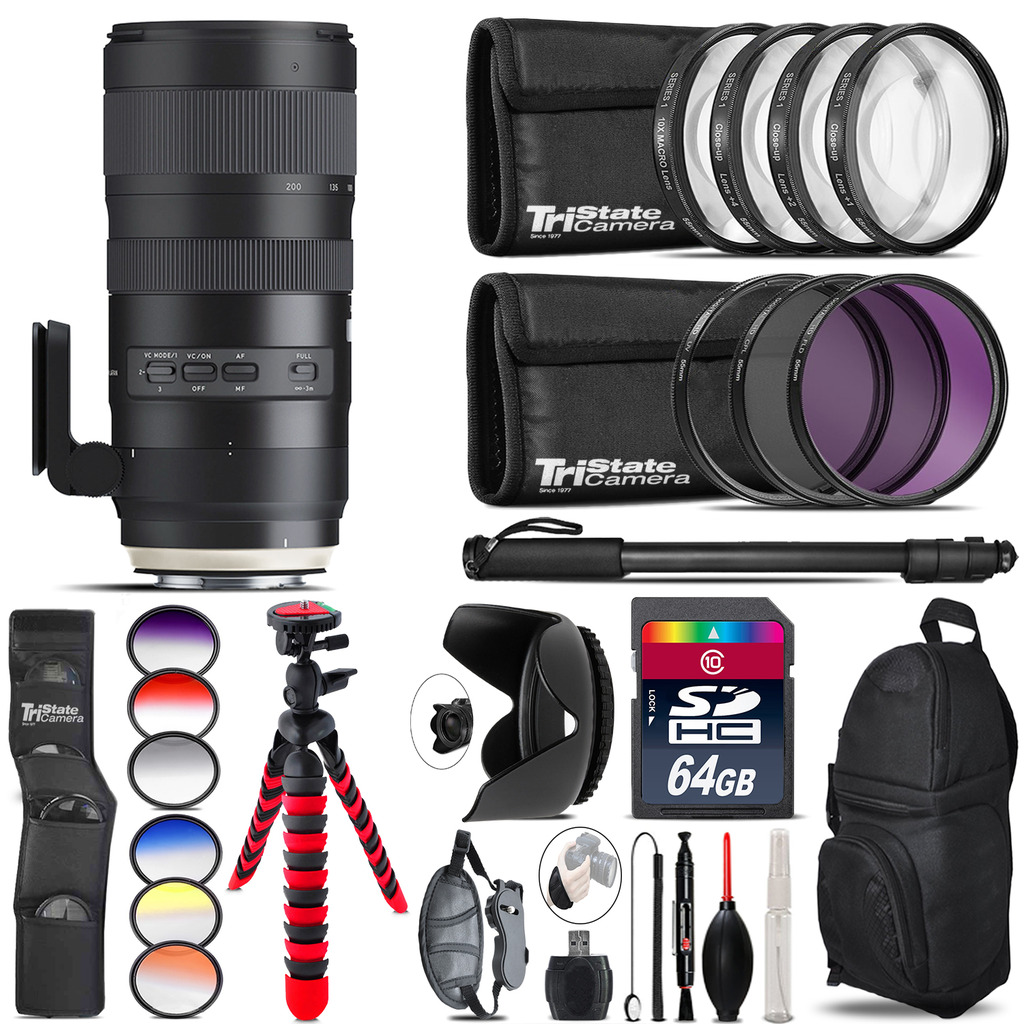 Tamron 70-200mm G2  for Canon + Graduated Color Filter - 64GB Accessory Kit *FREE SHIPPING*