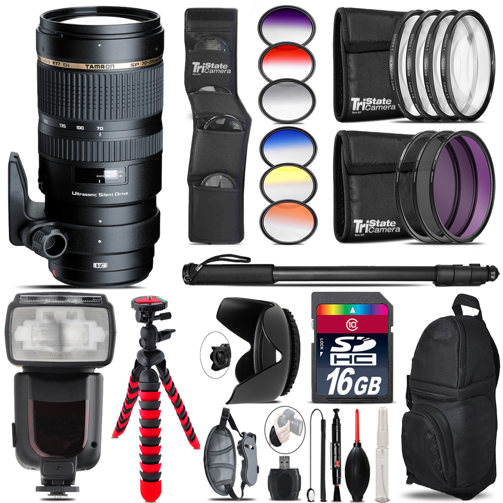 Tamron 70-200mm VC  for Canon + Pro Flash + Filter Kit - 16GB Accessory Kit *FREE SHIPPING*
