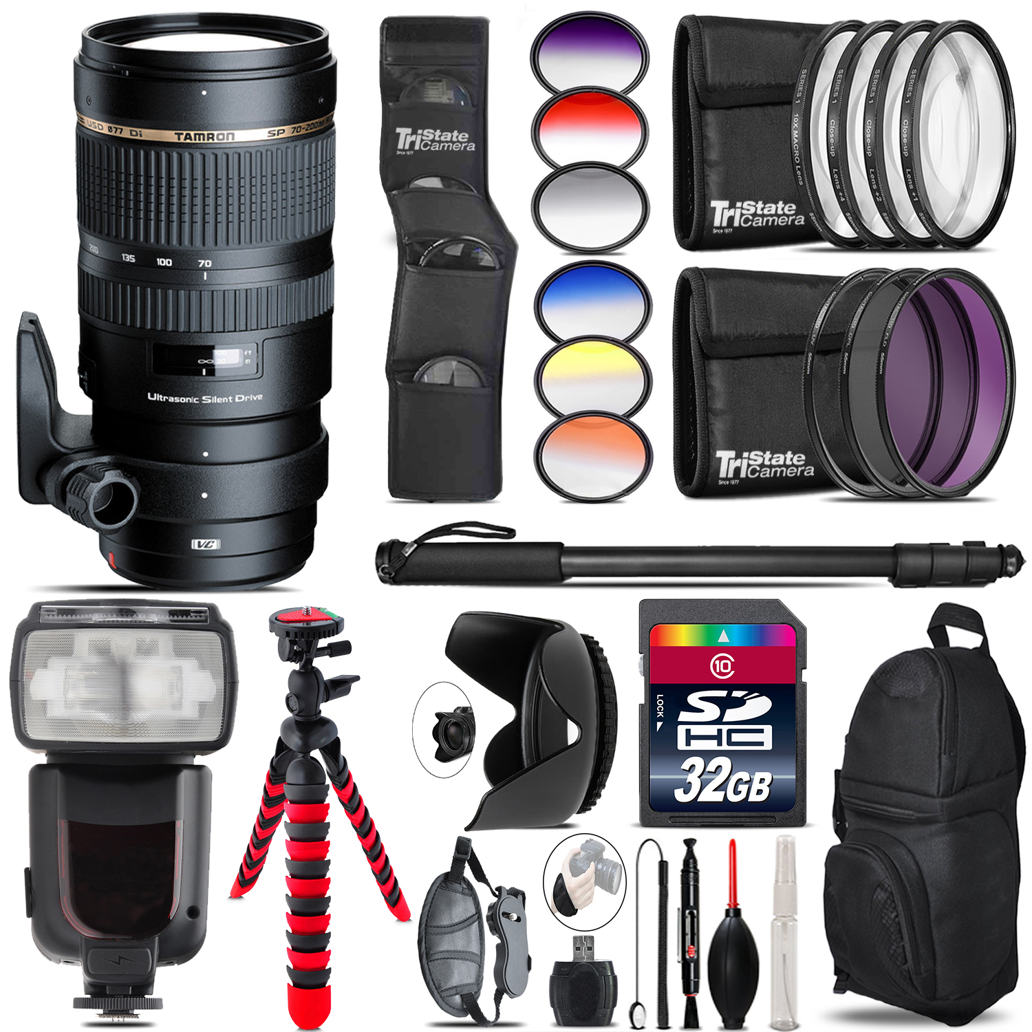 Tamron 70-200mm VC  for Canon + Pro Flash + Filter Kit - 32GB Accessory Kit *FREE SHIPPING*