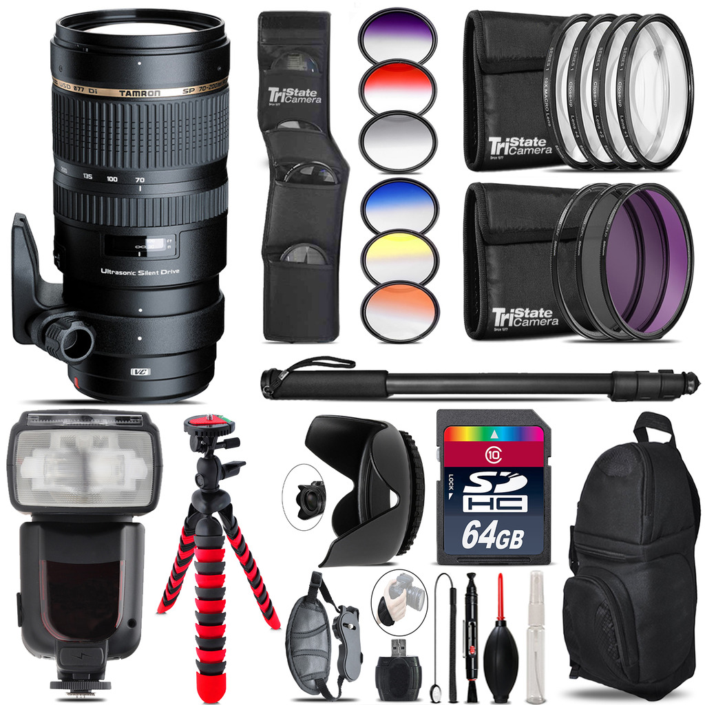 Tamron 70-200mm VC  for Canon + Pro Flash + Filter Kit - 64GB Accessory Kit *FREE SHIPPING*
