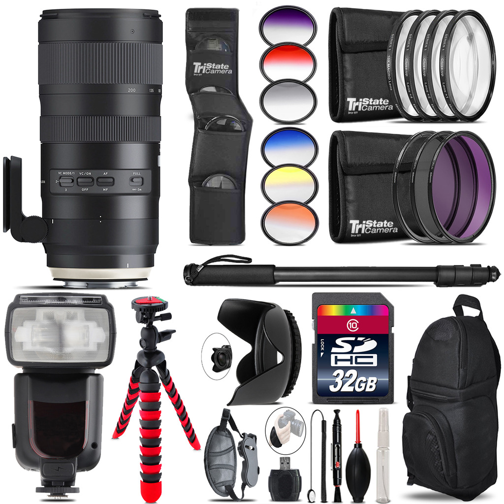 Tamron 70-200mm G2  for Canon + Pro Flash + Filter Kit - 32GB Accessory Kit *FREE SHIPPING*