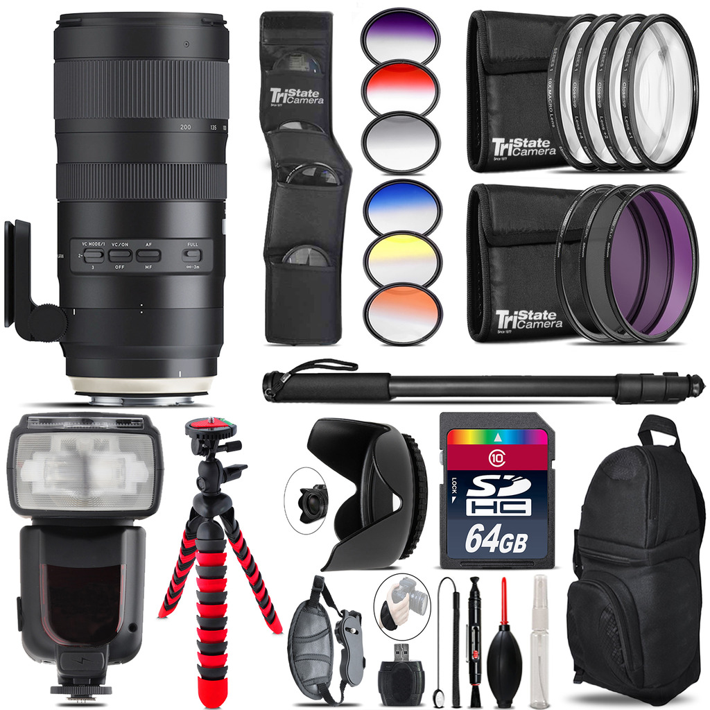 Tamron 70-200mm G2  for Canon + Pro Flash + Filter Kit - 64GB Accessory Kit *FREE SHIPPING*