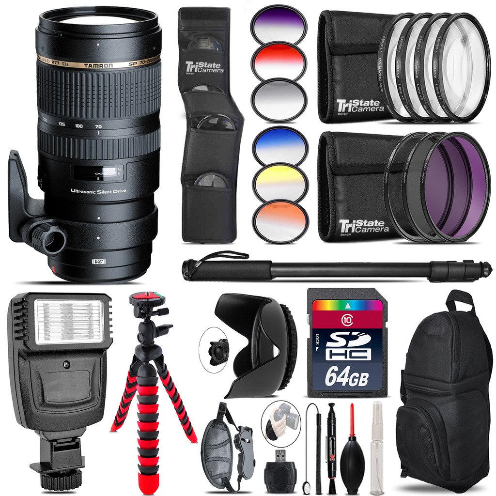 Tamron 70-200mm VC  for Canon + Flash + Color Filter Set - 64GB Accessory Kit *FREE SHIPPING*