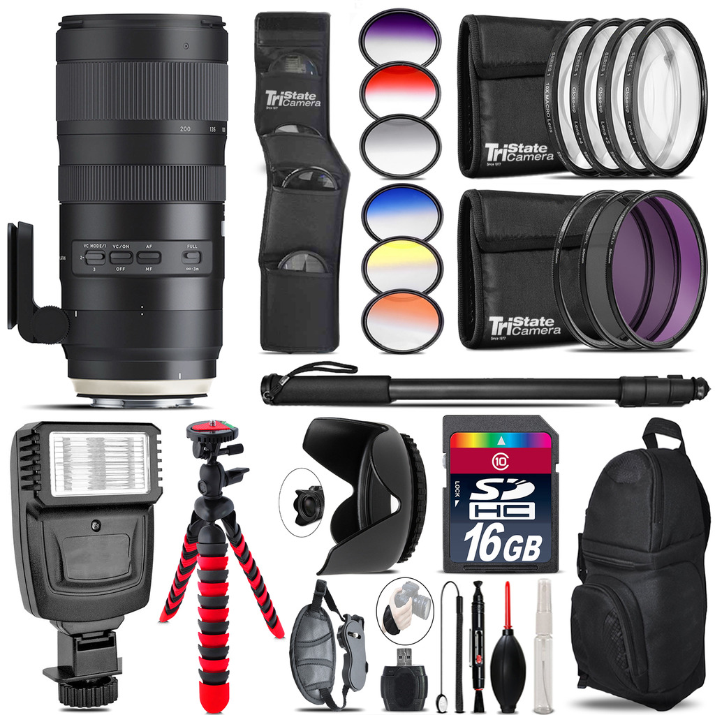 Tamron 70-200mm G2  for Canon + Flash + Color Filter Set - 16GB Accessory Kit *FREE SHIPPING*
