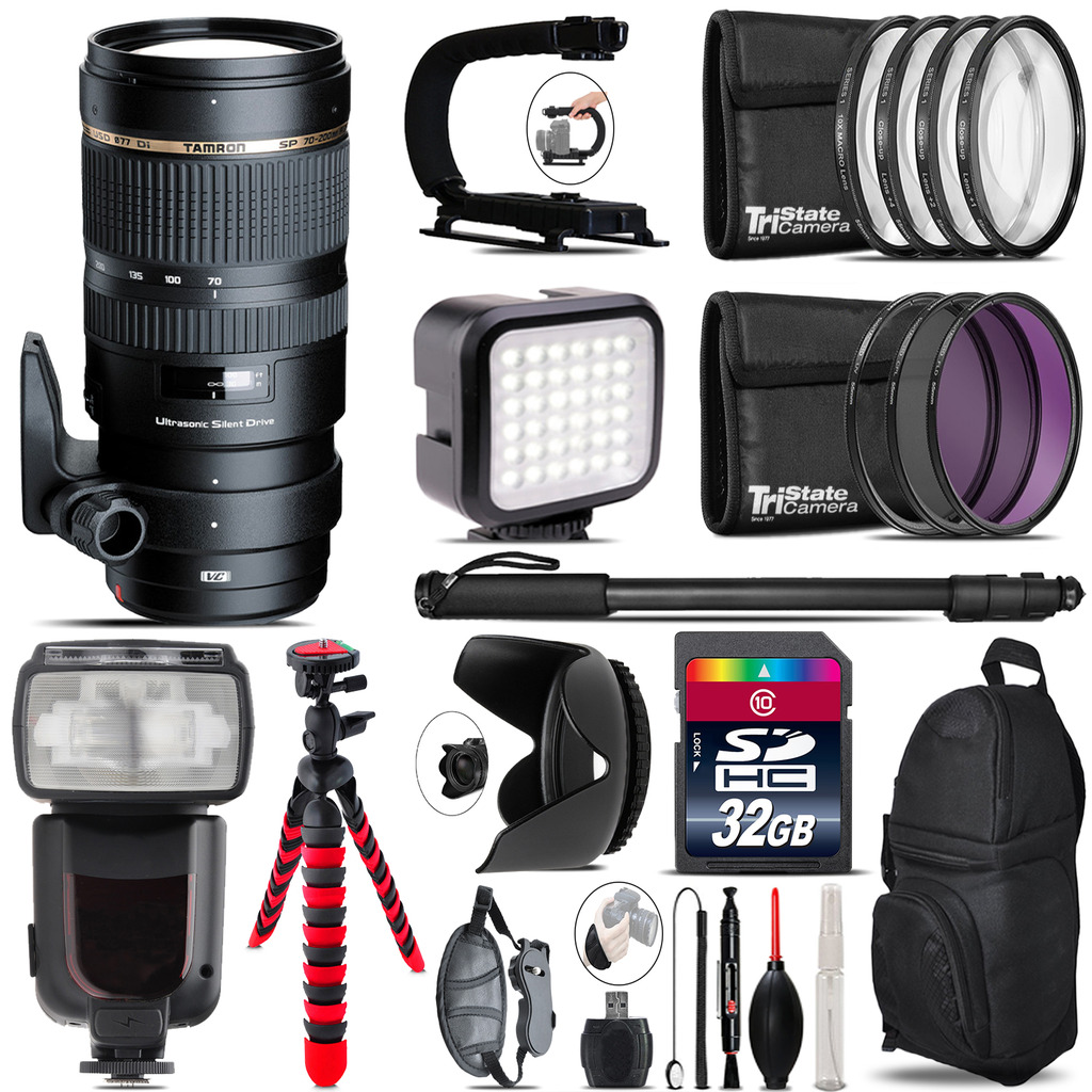Tamron 70-200mm VC  for Canon - Video Kit + Pro Flash - 32GB Accessory Bundle *FREE SHIPPING*