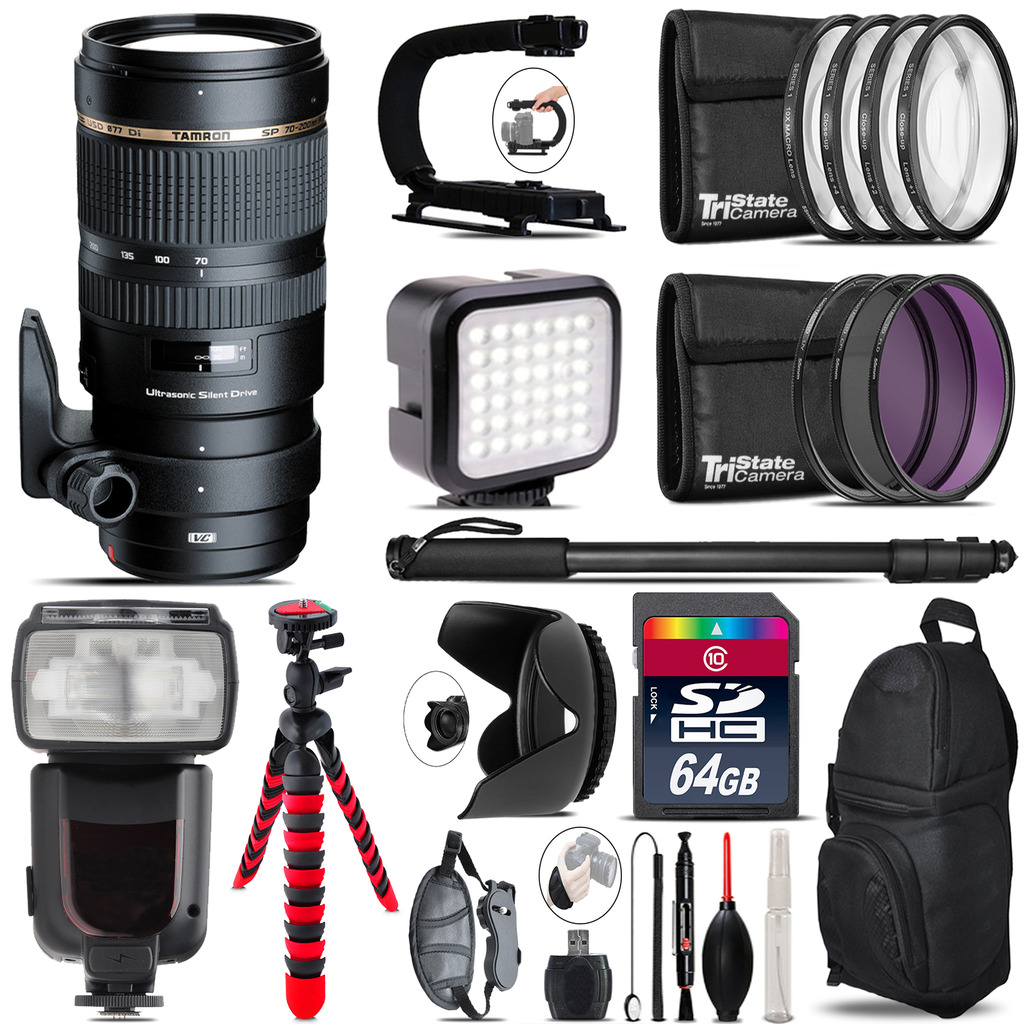 Tamron 70-200mm VC  for Canon - Video Kit + Pro Flash - 64GB Accessory Bundle *FREE SHIPPING*