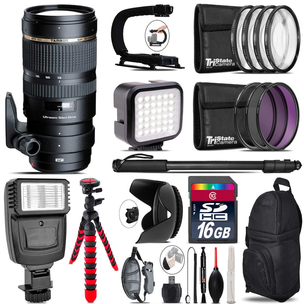 Tamron 70-200mm VC  for Canon - Video Kit +  Flash - 16GB Accessory Bundle *FREE SHIPPING*