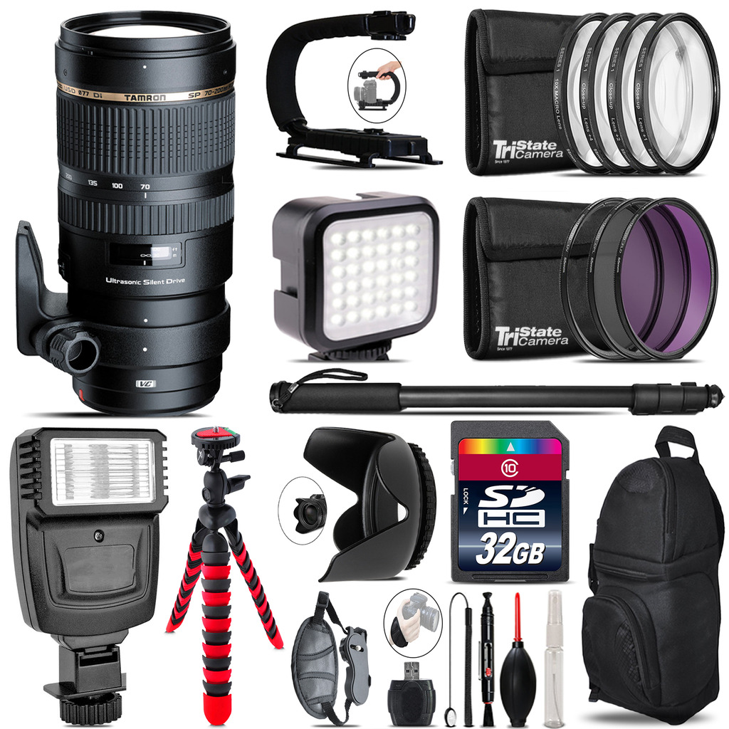 Tamron 70-200mm VC  for Canon - Video Kit +  Flash - 32GB Accessory Bundle *FREE SHIPPING*