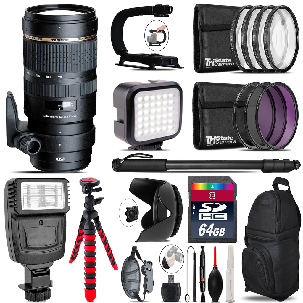 Tamron 70-200mm VC  for Canon - Video Kit +  Flash - 64GB Accessory Bundle *FREE SHIPPING*
