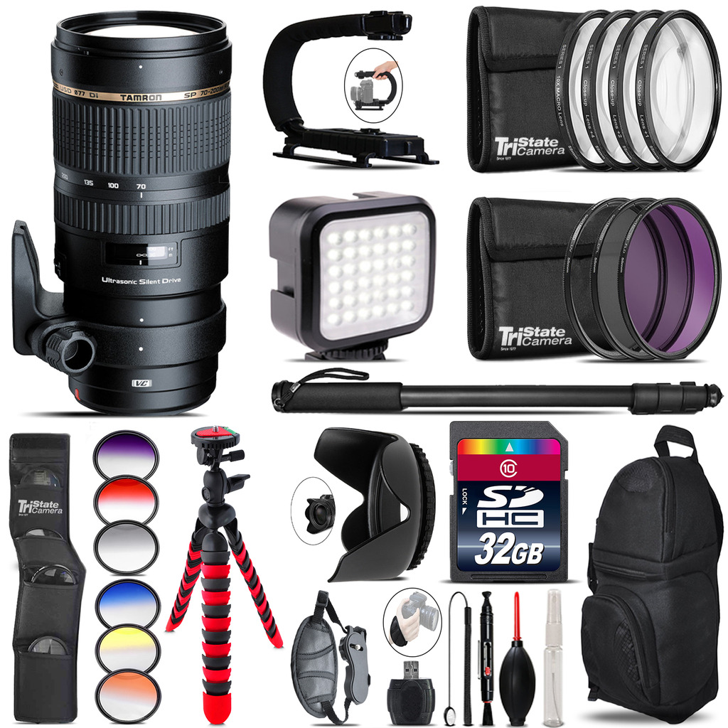 Tamron 70-200mm VC  for Canon - Video Kit + Color Filter - 32GB Accessory Kit *FREE SHIPPING*