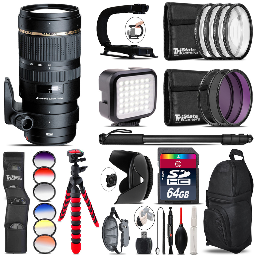 Tamron 70-200mm VC  for Canon - Video Kit + Color Filter - 64GB Accessory Kit *FREE SHIPPING*