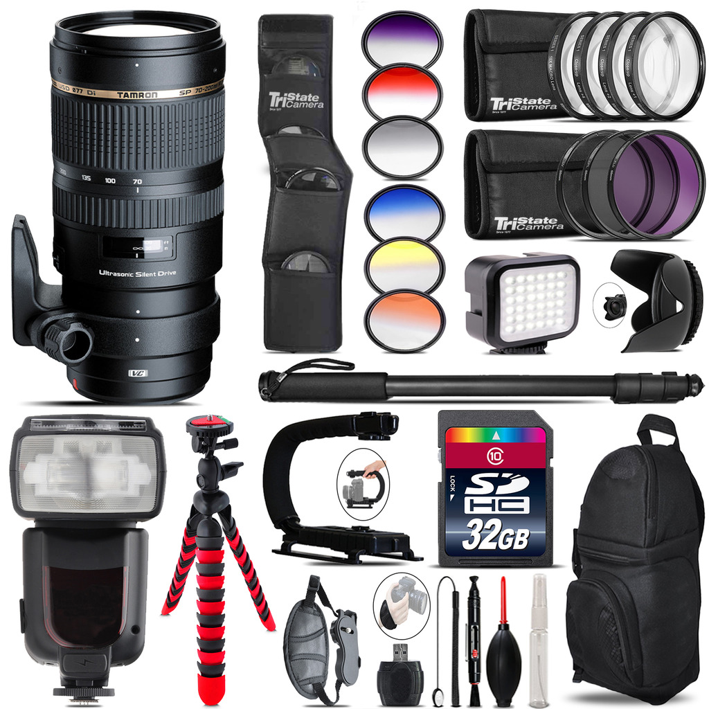 Tamron 70-200mm VC  for Canon + Pro Flash + LED Light - 32GB Accessory Bundle *FREE SHIPPING*