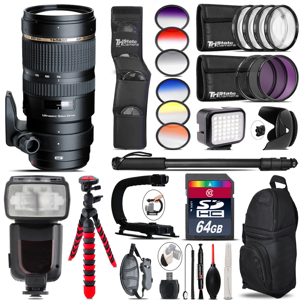 Tamron 70-200mm VC  for Canon + Pro Flash + LED Light - 64GB Accessory Bundle *FREE SHIPPING*