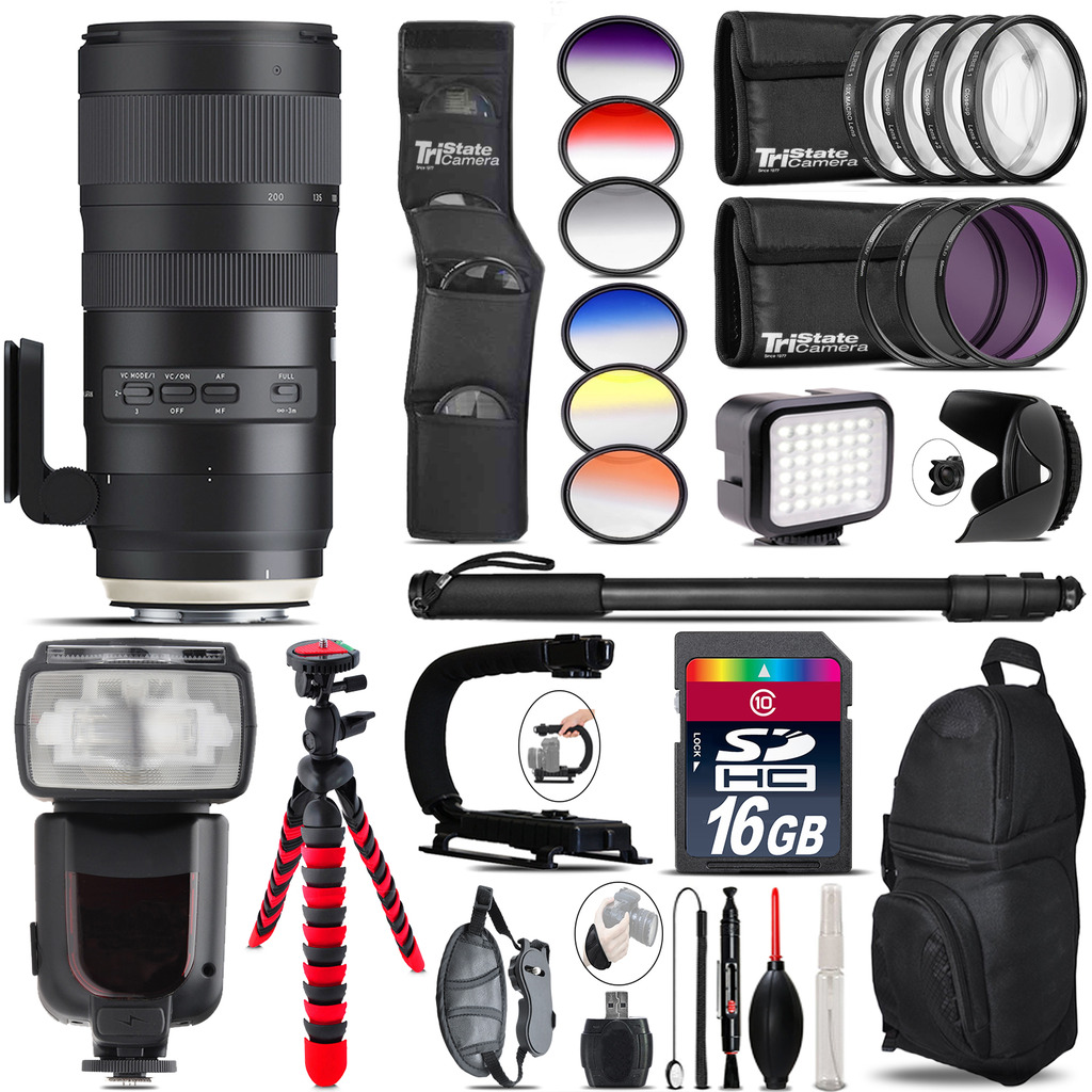 Tamron 70-200mm G2  for Canon + Pro Flash + LED Light - 16GB Accessory Bundle *FREE SHIPPING*