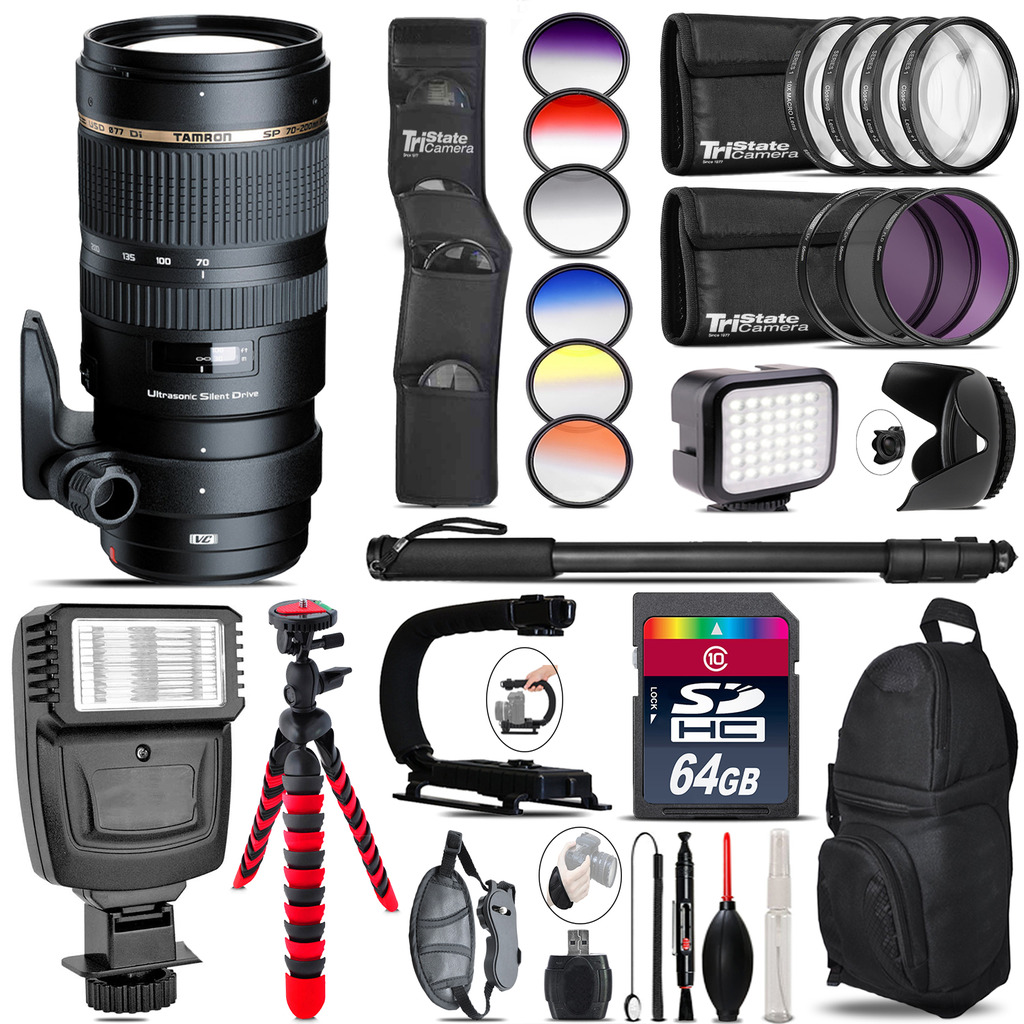 Tamron 70-200mm VC  for Canon + Color Set + LED Light - 64GB Accessory Bundle *FREE SHIPPING*