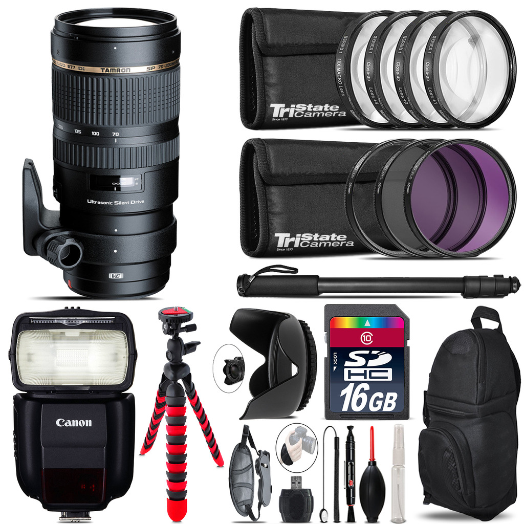 Tamron 70-200mm VC  for Canon + Speedlite 430EX III-RT  & More - 16GB Kit *FREE SHIPPING*
