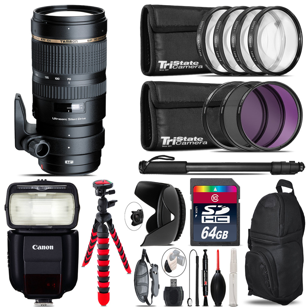 Tamron 70-200mm VC  for Canon + Speedlite 430EX III-RT  & More - 64GB Kit *FREE SHIPPING*