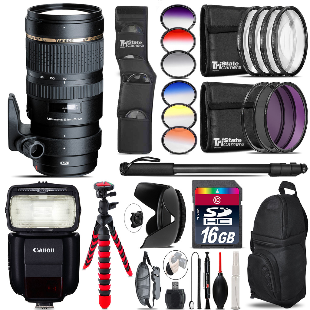 Tamron 70-200mm VC  for Canon + Speedlite 430EX III-RT - 16GB Accessory Kit *FREE SHIPPING*