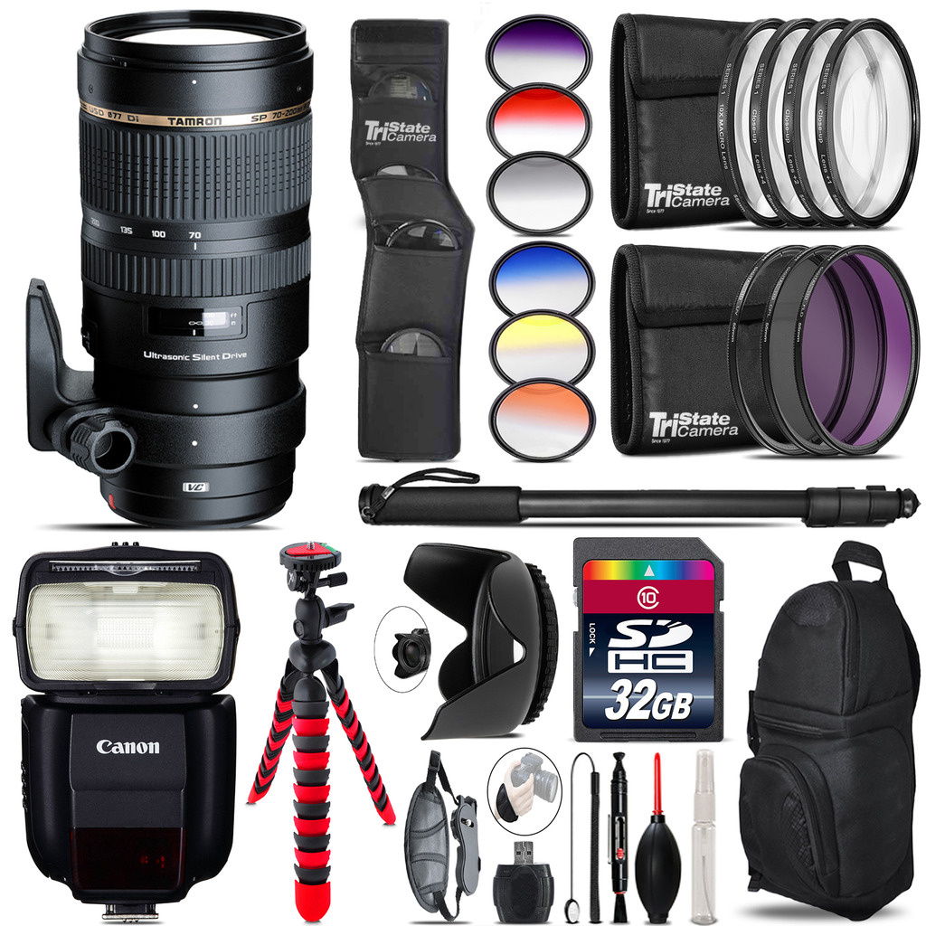 Tamron 70-200mm VC  for Canon + Speedlite 430EX III-RT - 32GB Accessory Kit *FREE SHIPPING*