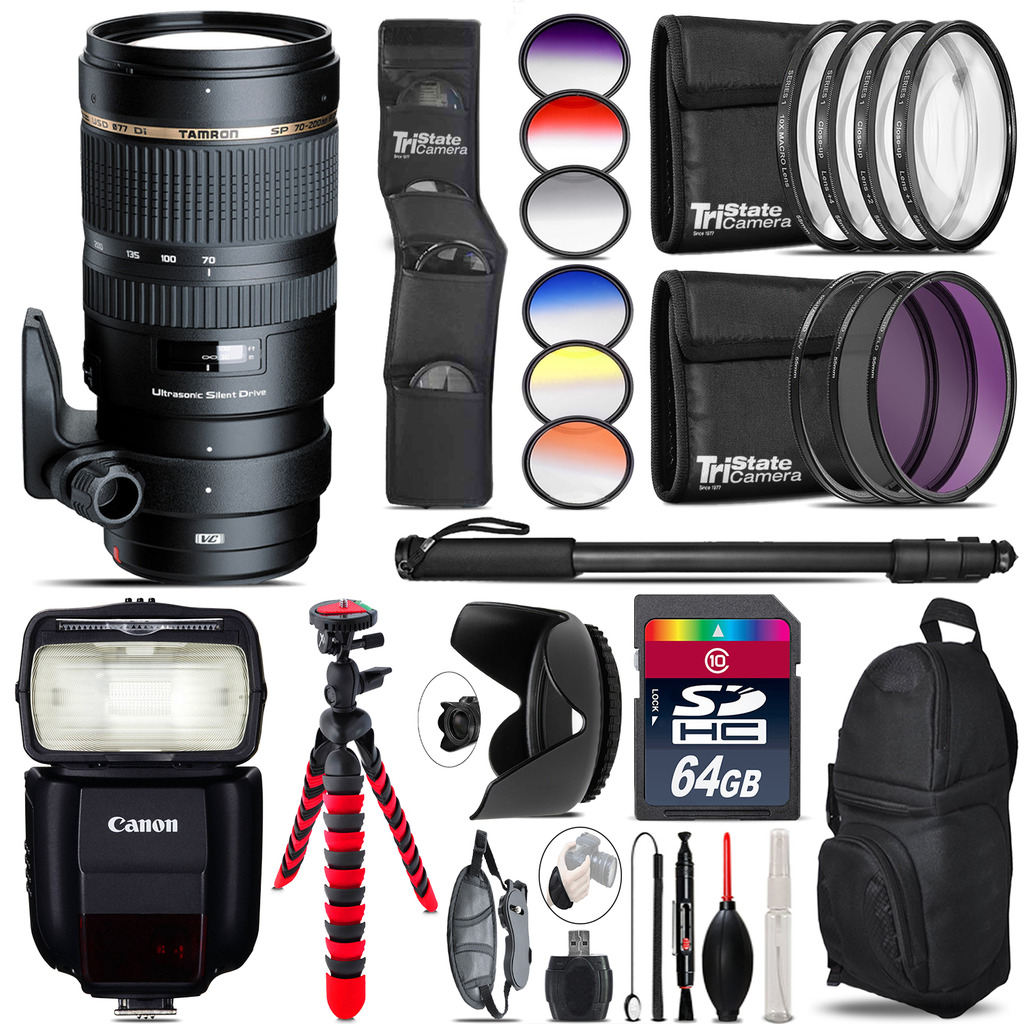 Tamron 70-200mm VC  for Canon + Speedlite 430EX III-RT  - 64GB Accessory Kit *FREE SHIPPING*