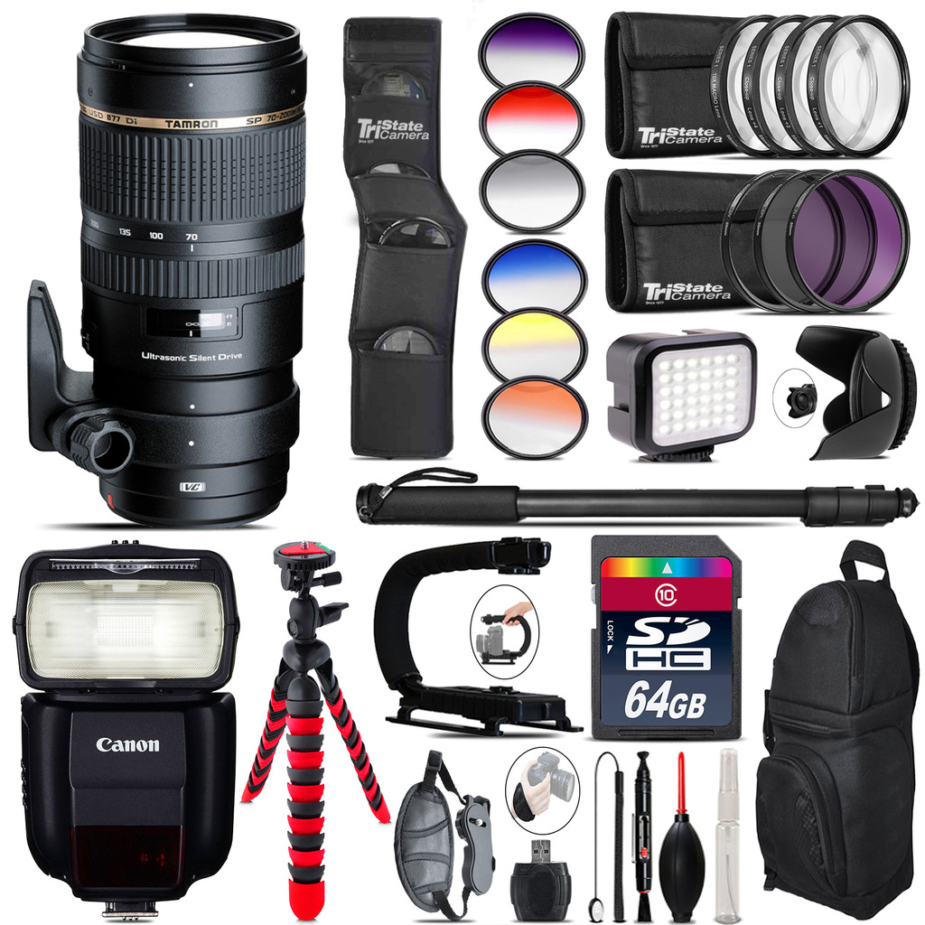 Tamron 70-200mm VC  for Canon + Speedlite 430EX + LED - 64GB Accessory Kit *FREE SHIPPING*