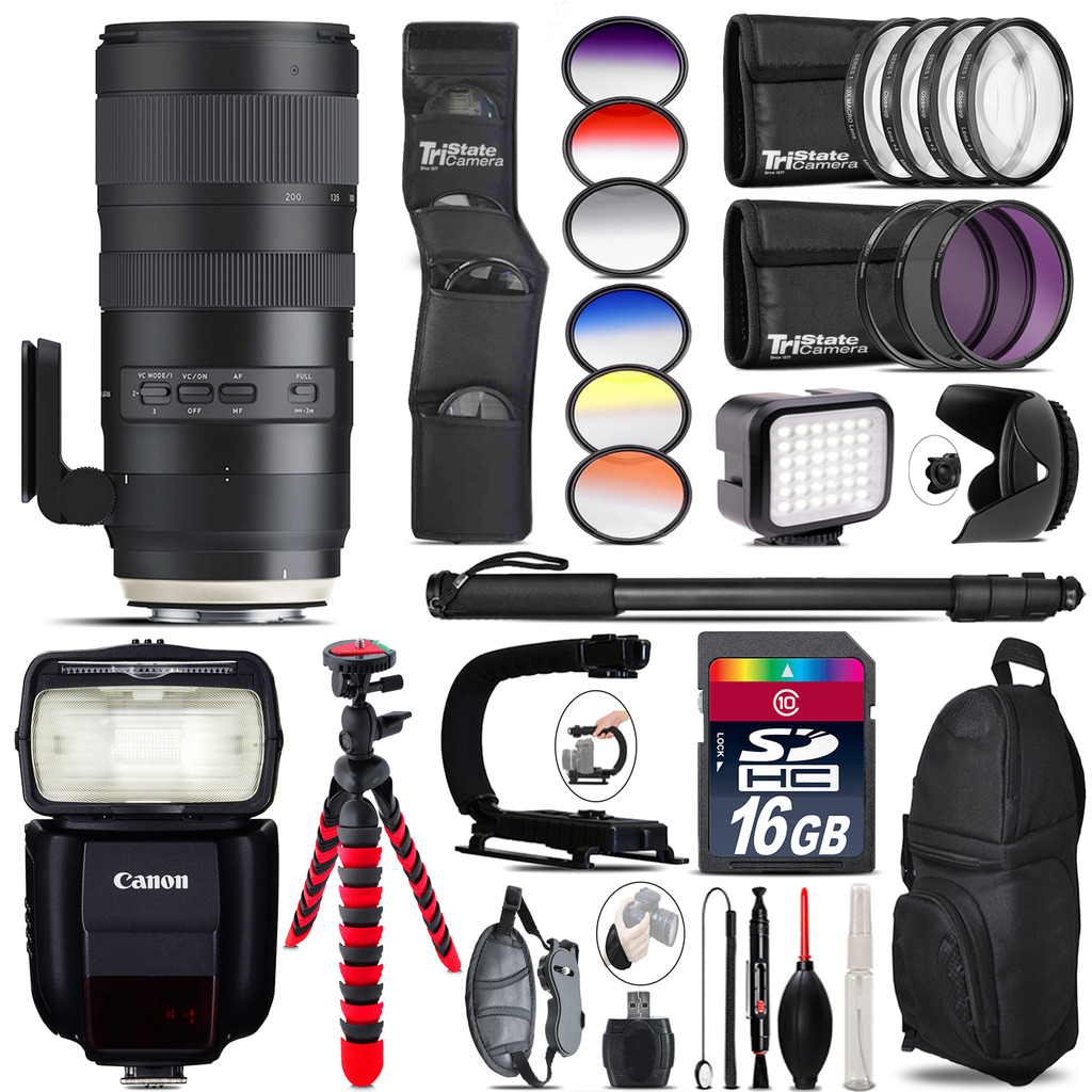 Tamron 70-200mm G2  for Canon + Speedlite 430EX III + LED - 16GB Accessory Kit *FREE SHIPPING*